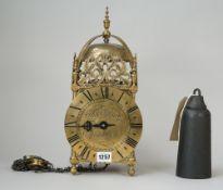 A brass lantern clock, the 6.