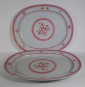 A pair of 19th century Spode pink and white oval serving dishes, (2).