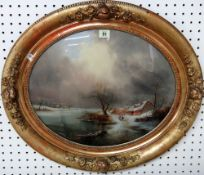 Continental School (19th century), Winter landscape, oil laid on glass, oval, 37cm x 44cm.