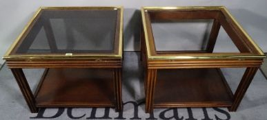 A pair of 20th century mahogany and brass mounted square side tables with inset glass tops (one