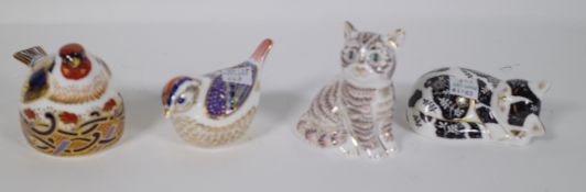 Four Royal Crown Derby Imari paperweights including two cats, goldfish and goldcrest, all boxed,
