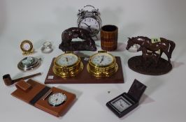 Collectables, including; nine 20th century travel clocks, two faux bronze animal groups, a pipe,