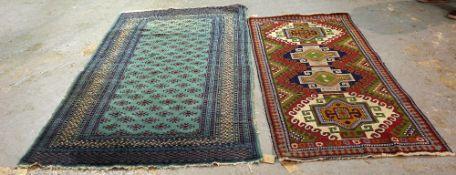A turquoise Pakistan Bokhara rug, 200cm x 128cm, and a Caucasian rug, 173cm x 89cm, (2).