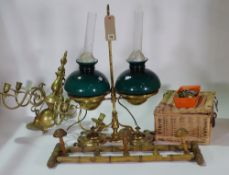 A Victorian brass and glass oil lamp converted to electricity,