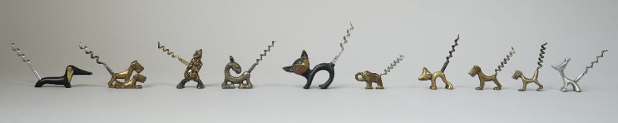 Ten novelty brass and white metal 'animal' corkscrews, mid 20th century, comprising, five dogs,