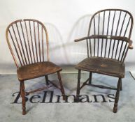An 18th century ash and elm Windsor armchair and another single Windsor chair, (2).