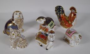 Six Royal Crown Derby Imari paperweights including a beaver, donkey, cockerel, spaniel,