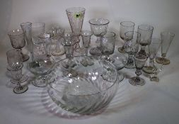Glassware, including; 18th century and later drinking vessels, bowls and sundry, (qty).