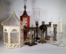A group of 20th century lamps and lighting, a sand timer and a birdcage, (qty).