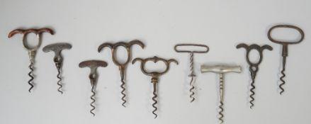 Four steel 'eye brow' corkscrews,