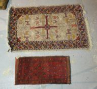 A North African chain stitch rug with animals, 190cm x 120cm, and a South Persian bag, 120cm x 58cm.