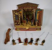 An early 20th century miniature painted puppet theatre back drop, (a.f.).