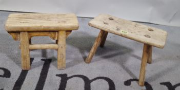 A primitive miniature elm stool, 31cm wide x 20cm high, and a Chinese elm miniature stool,