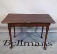 A late 18th century mahogany tavern table on tapering pad feet, 103cm wide x 68cm high.
