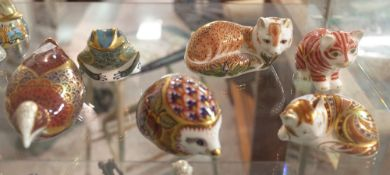 Six Royal Crown Derby Imari paperweights including a frog, coot, fox, hedgehog, cat and another cat,