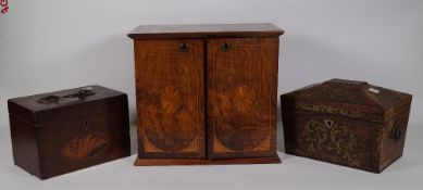 An Edwardian walnut table top chest,