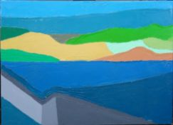 British School (contemporary), Abstract landscape, oil on canvas, unframed, 40cm x 56cm.