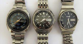 A Seiko Bell-Matic steel gentleman's bracelet wristwatch,