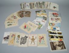POSTCARDS: Sentimental and Greetings, includes a few WW1 embroidered silk cards,