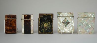 Two Victorian mother-of-pearl visiting card cases,