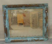 A 19th century giltwood and sheet metal framed rectangular wall mirror, 95cm wide x 83cm high.