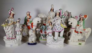 Ceramics, comprising; 19th century and later Staffordshire flat back figure groups and spill vases,