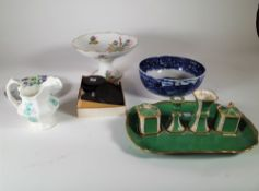 Ceramics, including Asian and English plates, inkwells, bisque plates and sundry, (qty).