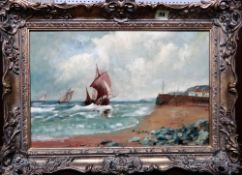 English School (19th/20th century), Vessels at sea; Vessels off the coast, a pair, oil on canvas,