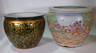 A 20th century Chinese style jardiniere painted with European hunting scene on a hardwood stand,