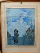 Starr Wood (1870-1944), Cupid in the clouds, watercolour, signed, 38cm x 28cm.