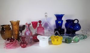 Glassware, comprising; mostly 20th century cranberry and blue glass drinking vessels,