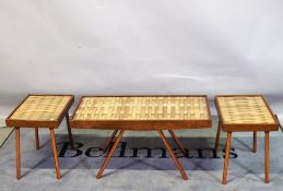 Richard Mead Rhodesia, a set of three 20th century hammered brass occasional tables,