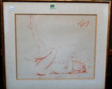 Franco Matania (1922-2006), Nude studies, three chalk drawings framed as two, all signed,