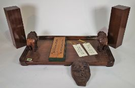 Collectables, including; pair of hardwood trays with carved animal handles, wooden box,,