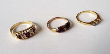 A Victorian carbuncle garnet, rose diamond and colourless gem set ring, in a twist design,