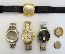 A Seiko Speed Timer 5 Sports steel gentleman's bracelet wristwatch,