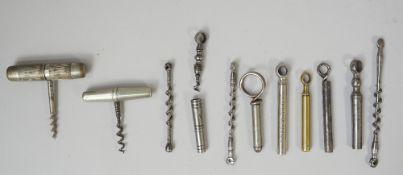 Three 19th century English peg and worm steel corkscrews,
