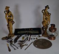 Collectables including walking sticks, watches, copper, brass and sundry.