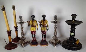 Collectables, comprising; modern decorative wooden, metal and ceramic lamp bases, (qty).