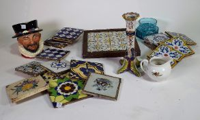 Ceramics, including; a group of 19th century and later tin glaze tiles,