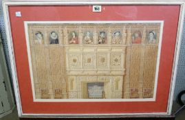 English School (19th century), A view of a decorative panelled wall depicting the Tudor court,