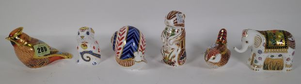 Six Royal Crown Derby Imari paperweights including a waxwing, chipmunk, snail, elephant,