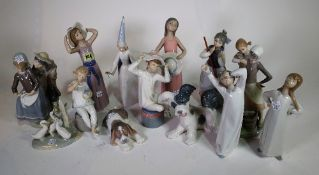 A group of thirteen Lladro figures and one Nao figure, (14).