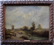Follower of Patrick Nasmyth, Landscape with figures and animals, a windmill beyond, oil on panel,
