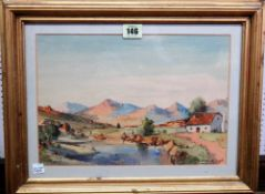 Gabriel de Jongh (1913-2004), South African landscape, watercolour, signed, 22cm x 31cm.