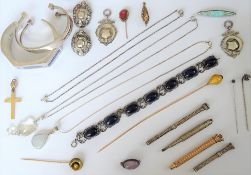 A group of silver and vertu comprising; two bangles, a bracelet, three necklaces, two pendants,