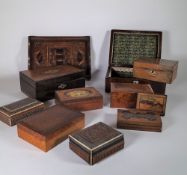19th century and later jewellery boxes, tea caddies, glove boxes and sundry, (qty).