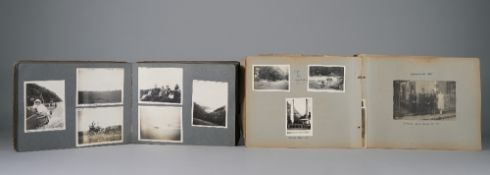 PHOTOGRAPH ALBUMS: two leatherbound albums, ca.