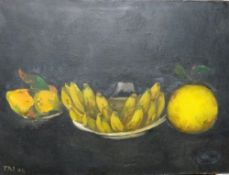 T** R**I** (20th century), Stilll life of bananas and other fruit, oil on canvas,