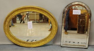 A 19th century gilt framed oval wall mirror, 70cm wide x 95cm high,